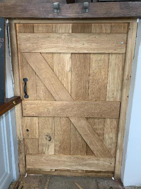 Oak Ledged and braced door. Rosehead clenched nail construction